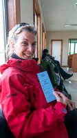 Sharon with her Antarctic Bording Pass